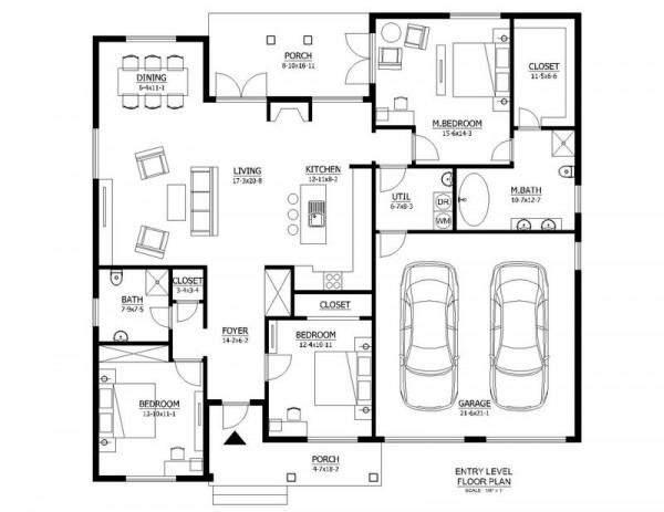 Casa moderna de dos niveles tres dormitorios planos esta for Plano casa moderna 3 habitaciones