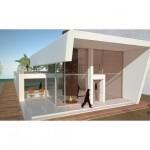 Planos de casa costera de dos niveles, tres dormitorios