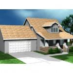 Planos de casa de campo de dos niveles, dos baños, tres dormitorios y un garaje