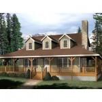 Planos de casa de campo de dos niveles y tres dormitorios