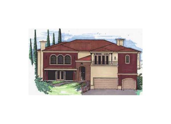 Planos de casa española de dos niveles, cuatro dormitorios, tres baños y un garaje