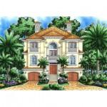 Planos de casa mediterránea de tres niveles