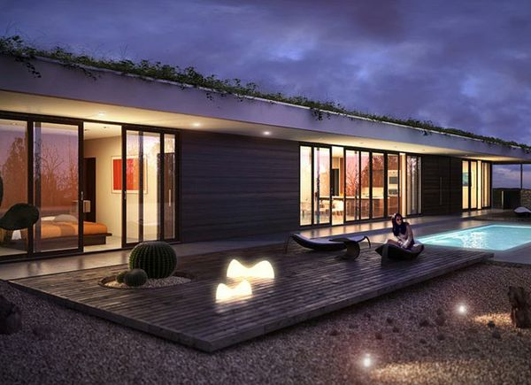 Planos de casa moderna de dos baños, un nivel, dos dormitorios y un garaje