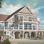 Planos de casa de playa de tres niveles, cuatro dormitorios, tres baños, un garaje