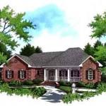 Planos de casa tradicional de un nivel, tres dormitorios, dos baños, un garaje