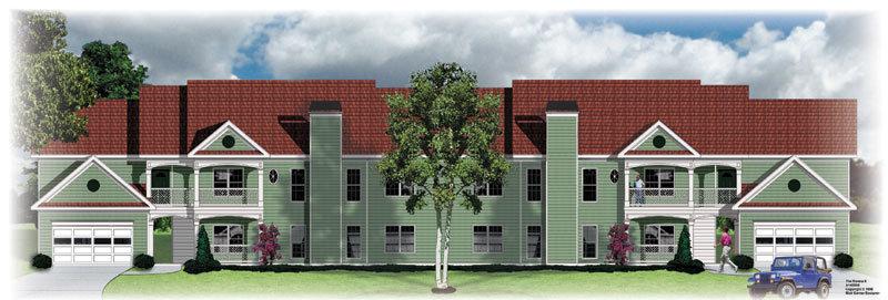 Planos de edificio de dos niveles, 8 departamentos