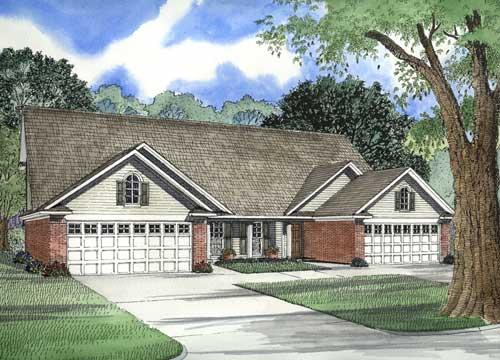 Planos de casa dúplex de dos niveles, tres dormitorios, dos baños y un garaje