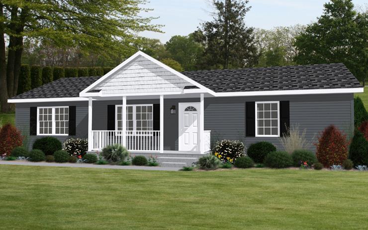 Planos de casa prefabricada de un solo nivel, tres dormitorios, dos baños