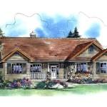 Planos de casa rural de un solo nivel, tres dormitorios, dos baños y un garaje