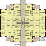 Planos de edificio de dos niveles, 16 dormitorios y 16 baños1