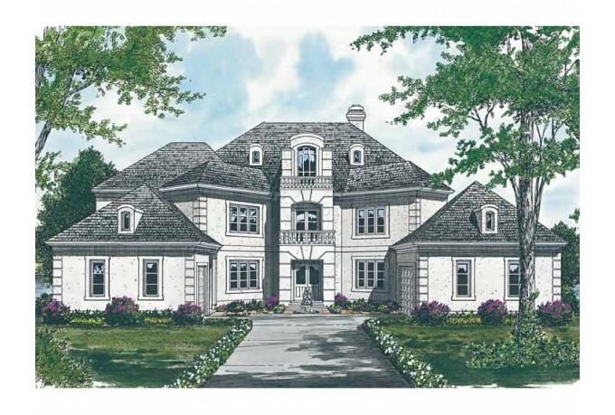Planos de mansión de tres niveles, cinco dormitorios