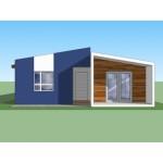 Planos de casa ecológica de un nivel, dos dormitorios, dos baños