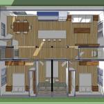 Planos de casa ecológica de un nivel, dos dormitorios, dos baños1