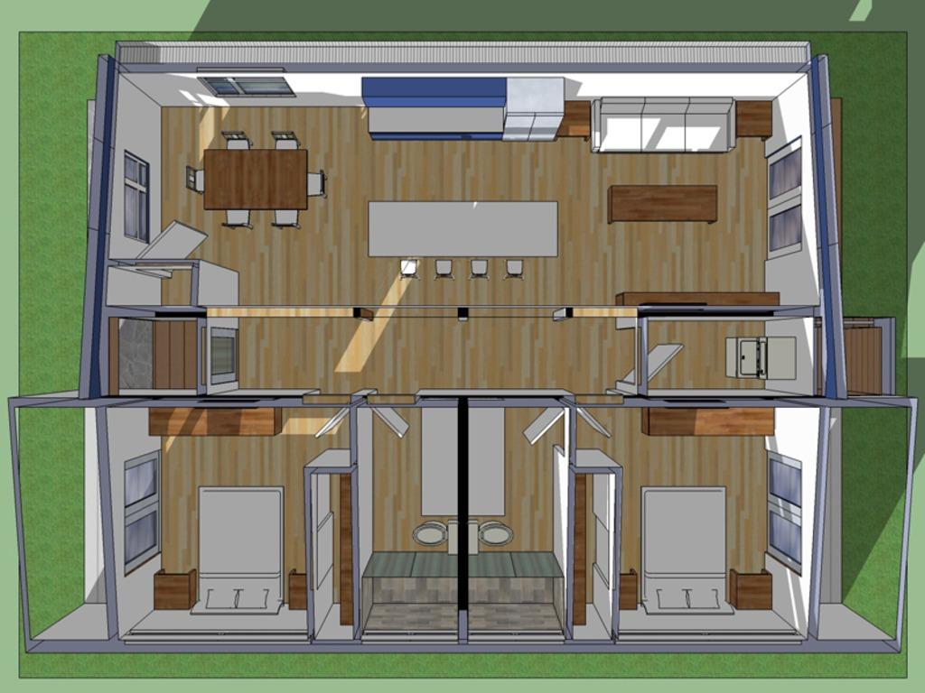 de casa ecológica de un nivel, dos dormitorios, dos baños1