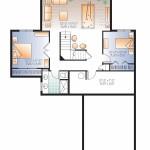 Planos de chalet de un solo nivel, dos baños2