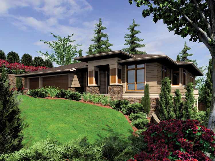 Planos de casa moderna de dos niveles, cuatro dormitorios