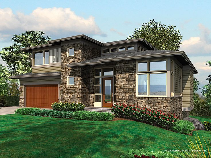 Planos de casa moderna de tres niveles, cuatro dormitorios, cuatro baños, un garaje
