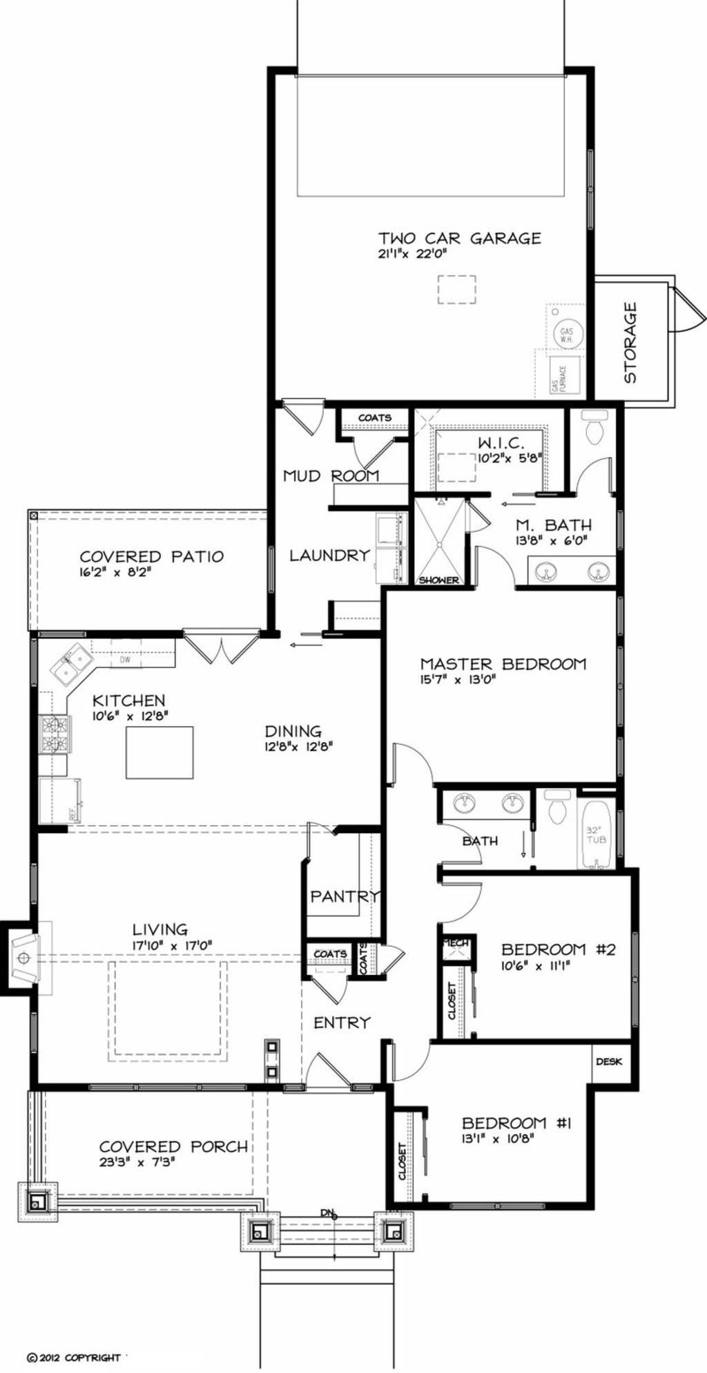 planos de casa de una planta, 162 m2 y 3 dormitorios
