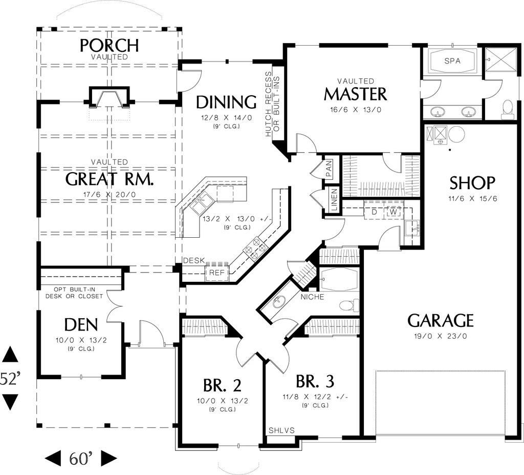 Planos de casa cl sica dos ba os tres dormitorios y un for Planos de casas de dos dormitorios